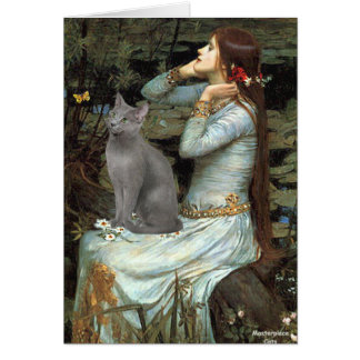 Ophelia - Russian Blue cat Card