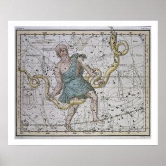 Ophiuchus or Serpentarius, from 'A Celestial Atlas Poster