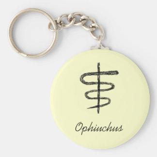 Ophiuchus. Zodiac Sign. Black Sketch. Basic Round Button Keychain