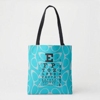 Ophthalmology Eye Chart Retro Cat Eyes Blue Tote Bag