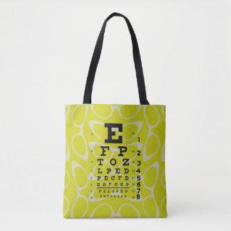 Ophthalmology Eye Chart Retro Cat Eyes Yellow Tote Bag