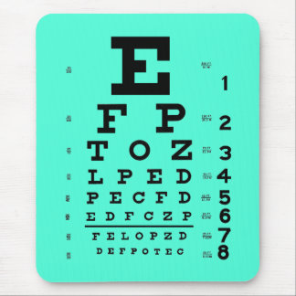 Ophthalmology Optometry Medical Eye Chart Aqua Mouse Pad