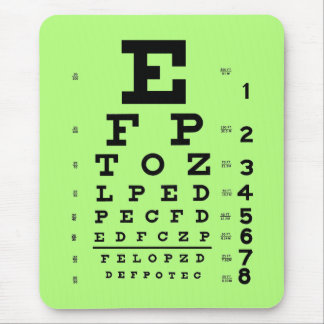 Ophthalmology Optometry Medical Eye Chart Green Mouse Pad