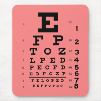 Ophthalmology Optometry Medical Eye Chart Pink Mouse Pad