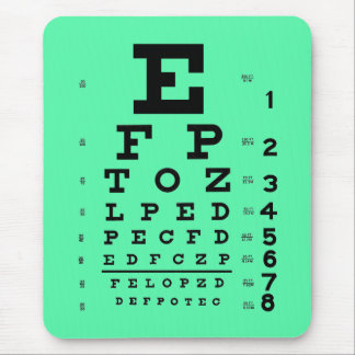 Ophthalmology Optometry Medical Eye Chart Sea Foam Mouse Pad