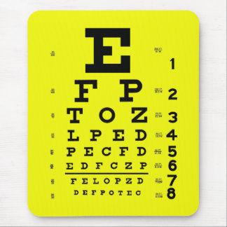 Ophthalmology Optometry Medical Eye Chart Yellow Mouse Pad