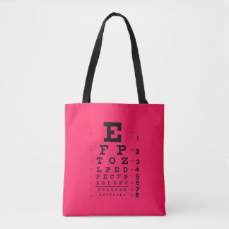Ophthalmology Pop Art: Retro Style Eye Chart Pink Tote Bag