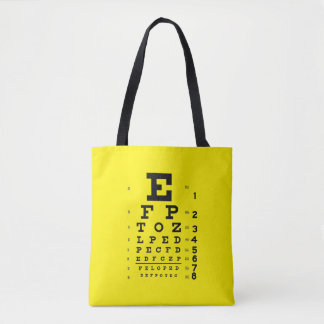 Ophthalmology Pop Art Retro Style Eye Chart Yellow Tote Bag