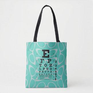 Ophthalmology Retro Eye Chart Cat Eyes Baby Blue Tote Bag