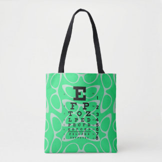 Ophthalmology Retro Eye Chart Cat Eyes Mint Green Tote Bag