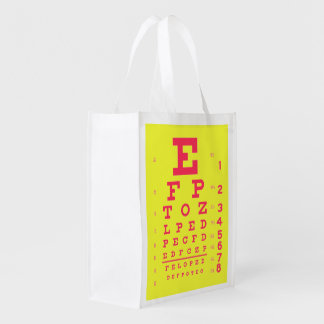 Ophthalmology Visual Acuity Eye Chart Pop Art Reusable Grocery Bag