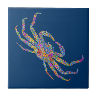 Opilio Crab in Blue With Stars Tile