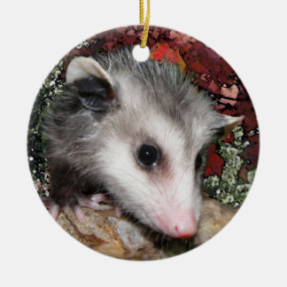 Opossum Baby Round Ceramic Ornament