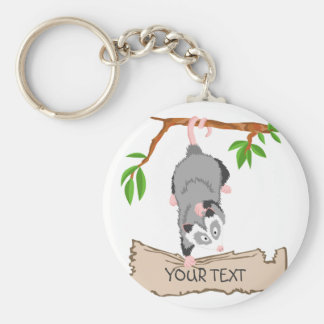 Opossum with sign basic round button keychain