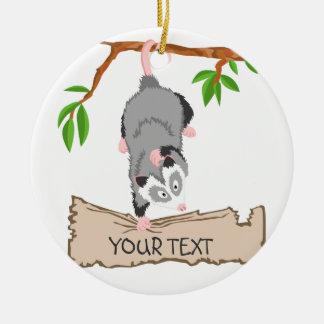 Opossum with sign round ceramic ornament