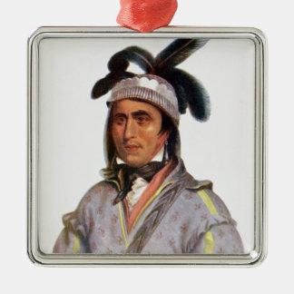 Opothle-Yoholo, a Creek Chief Silver-Colored Square Ornament