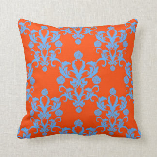 Opposites Attract Orange and Blue Damask Throw Pillow
