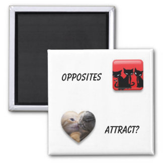 Opposites Attract Square Magnet