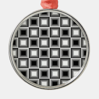 Optical 3D Chessboard Illusion Black White Grey Christmas Tree Ornament