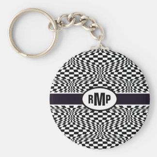 Optical Checkerboard Basic Round Button Keychain