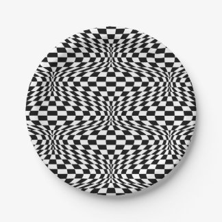 Optical Checkerboard Paper Plate