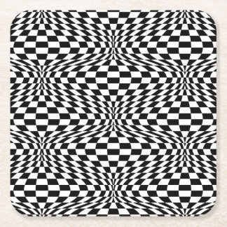 Optical Checkerboard Square Paper Coaster