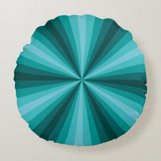 Optical Illusion Aqua Round Pillow