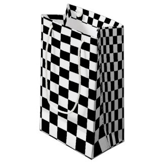 Optical Illusion Black and White Checkers Small Gift Bag