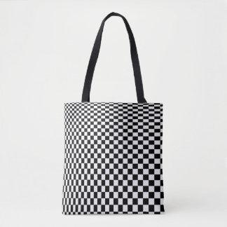 Optical Illusion Black and White Checkers Tote Bag