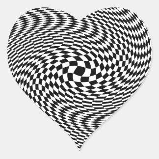 Optical Illusion Black and White Heart Sticker