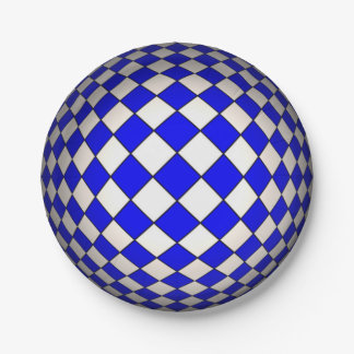 Optical Illusion Blue & White Sphere Paper Plates