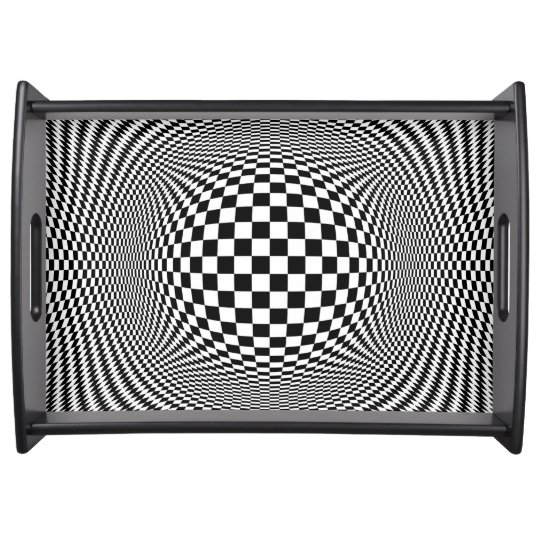Optical Illusion Checkers Serving Tray