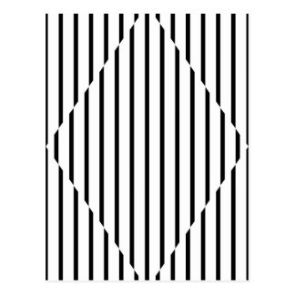 Optical Illusion Diamond Lines Black White Postcard
