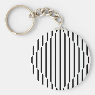 Optical Illusion Diamond Lines Black White Square Basic Round Button Keychain