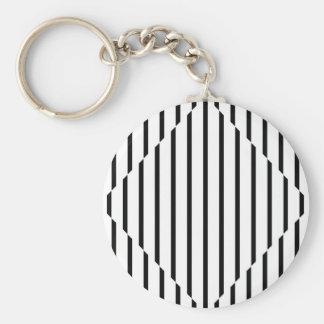 Optical Illusion Diamond Lines Black White Square Keychain