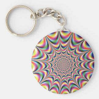 optical illusion keyring basic round button keychain