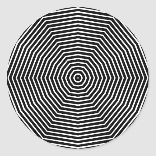 Line Optical Designory : Optical illusion lines round sticker zazzle
