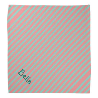 Optical Illusion Mint Green & Salmon Pink Stripes Bandana