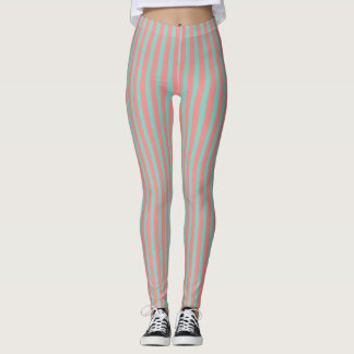 Optical Illusion Mint Green & Salmon Pink Stripes Leggings