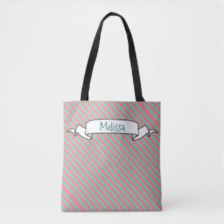 Optical Illusion Mint Green & Salmon Pink Stripes Tote Bag