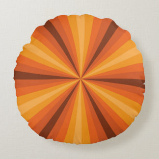 Optical Illusion Orange Round Pillow