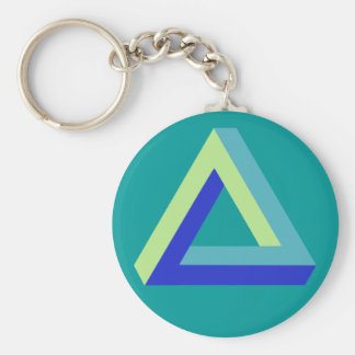Optical illusion: penrose triangle basic round button keychain