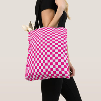 Optical Illusion Pink and White Checkers Tote Bag