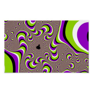 Optical Illusion Purple Green Holographic Hypnotic Poster