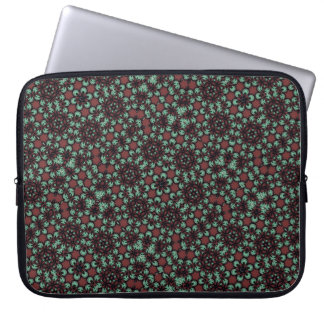 Optical illusion red-green floral spheres laptop sleeve