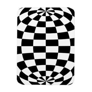 Optical Illusion Round checkers Black White Magnet