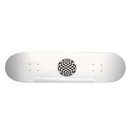Optical Illusion Round checkers Black White Skateboard