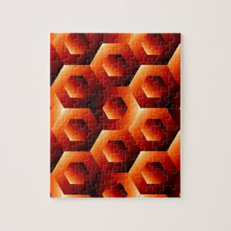 Optical illusion with hexagon puzzle