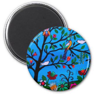 OPTIMISM BIRDS TREE OF LIFE 2 INCH ROUND MAGNET