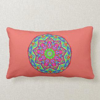 Optimism Prism Aqua Mandala Coral Pink Pillow